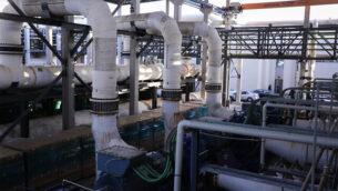 صورة لمحطة تحلية المياه 'سوريك A'، في 22 نوفمبر، 2018. (Isaac Harari/Flash90)