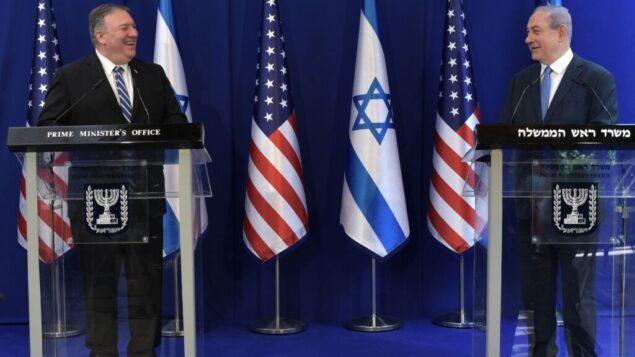 وزير الخارجية الأمريكي مايك بومبيو، يسار، مع رئيس الوزراء نتنياهو في مقر إقامته في القدس، 13 مايو 2020 (Kobi Gideon / PMO)