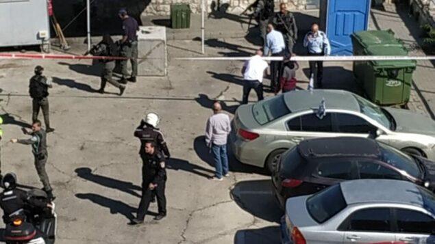 موقع حادثة محاولة طعن مشتبه بها في حي جبل المكبر بالقدس الشرقية، 25 مايو 2020. (Noemi Kamhine)