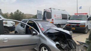 ساحة هجوم دهس مفترض في جنوب الضفة الغربية، 14 مايو 2020. (Israel Defense Forces)