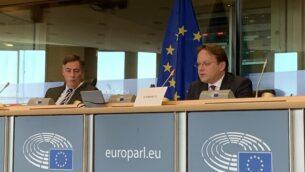 أوليفر فاريلي، مفوض الاتحاد الأوروبي للجوار والتوسع، خلال جلسة مع لجنة الشؤون الخارجية للبرلمان الأوروبي، مايو 2020.   (Twitter)