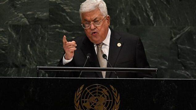 رئيس السلطة الفلسطينية محمود عباس في الدورة ال74 للجمعية العامة للأمم المتحدة، 26 سبتمبر، 2019. (Timothy A. Clark/AFP)