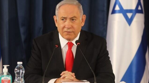 رئيس الوزراء بنيامين نتنياهو يترأس الجلسة الأسبوعية للحكومة في القدس، 7 يونيو، 2020. (Menahem KAHANA / AFP)