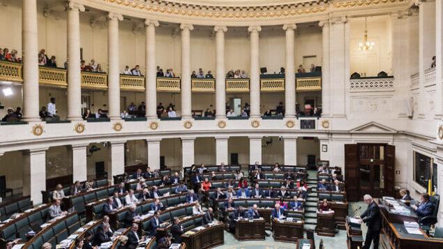 أرشيف: أعضاء البرلمان الاتحادي البلجيكي يحضرون جلسة عامة ، 26 أكتوبر 2017. (AP Photo / Geert Vanden Wijngaert)