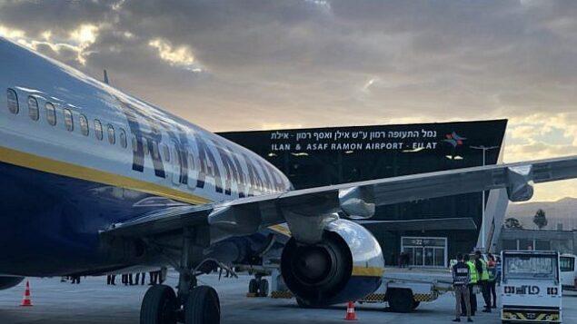 طائرة بوينغ 737 تابعة لشركة Ryanair في مطار رامون في إيلات، 4 مارس، 2019. (Rafi Peled/ Israel Airport Authority)