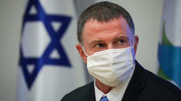 وزير الصحة يولي إدلشتين خلال مؤتمر صحفي بشأن فيروس كورونا في وزارة الصحة بالقدس، 28 يونيو، 2020.(Olivier Fitoussi/Flash90)