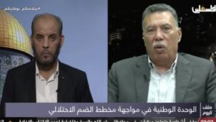 عضو المكتب السياسي لحركة حماس، حسام بدران، والعضو في اللجنة المركزية لحركة فتح، أحمد حلس، يناقشان 'العمل المشترك' في خضم ما يقولان إنها محاولة لوضع التوترات بين الفصيلين الفلسطينيين المتناحرين جانبا.  (Screenshot)