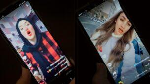 صورة مركبة من صور التقطت في 28 يوليو 2020 تظهر امرأة تشاهد مقاطع فيديو للمؤثرات المصريات (من اليسار إلى اليمين) حنين حسام ومودة الأدهم، التين حكم عليهما بالسجن لمدة عامين بتهمة انتهاك الآداب العامة، على تطبيق مشاركة الفيديو 'تيك توك' في العاصمة المصرية القاهرة (KHALED DESOUKI / AFP)