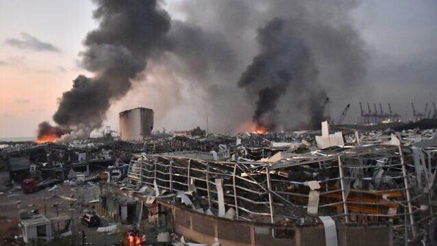 صورة من موقع انفجار في مرفأ بيروت، 4 أغسطس، 2020. (STR / AFP)