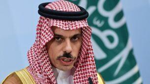 وزير الخارجية السعودي الأمير فيصل بن فرحان يحضر مؤتمرا صحفيا مشتركا مع وزير الخارجية الألماني هايكو ماس في برلين، 19 اغسطس 2020 (John MacDougall / Pool / AFP)