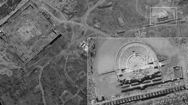 صورة للمدرج الروماني في مدينة تدمر السورية التقطها قمر التجسس الاسرائيلي 'أوفيك 16'، ونشرتها وزارة الدفاع في 24 اغسطس، 2020. (Defense Ministry)