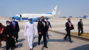وزير الخارجية الأمريكي مايك بومبيو يصل الإمارات العربية المتحدة، 26 أغسطس 2020 (Twitter)