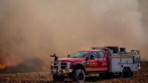 حريق في جنوب إسرائيل بالقرب من الحدود مع قطاع غزة ناجم عن بالونات حارقة اطلقها فلسطينيون، 13 أغسطس 2020 (Yonatan Sindel / Flash90)