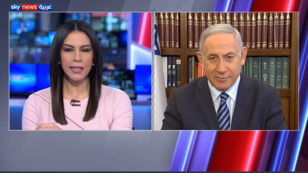 رئيس الوزراء بنيامين نتنياهو في مقابلة مع قناة سكاي نيوز العربية التي مقرها أبو ظبي، 17 أغسطس 2020. (Screen capture: Sky News Arabia)