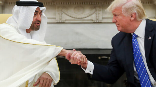 الرئيس الأمريكي دونالد ترامب يصافح ولي عهد أبو ظبي، الشيخ محمد بن زايد آل نهيان، في البيت الأبيض بواشنطن، 15 مايو، 2017. (AP/Andrew Harnik, File)