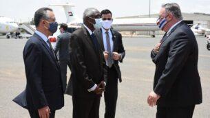 زير الخارجية الأمريكي مايك بومبيو يصل السودان، 25، أغسطس، 2020. (Twitter)