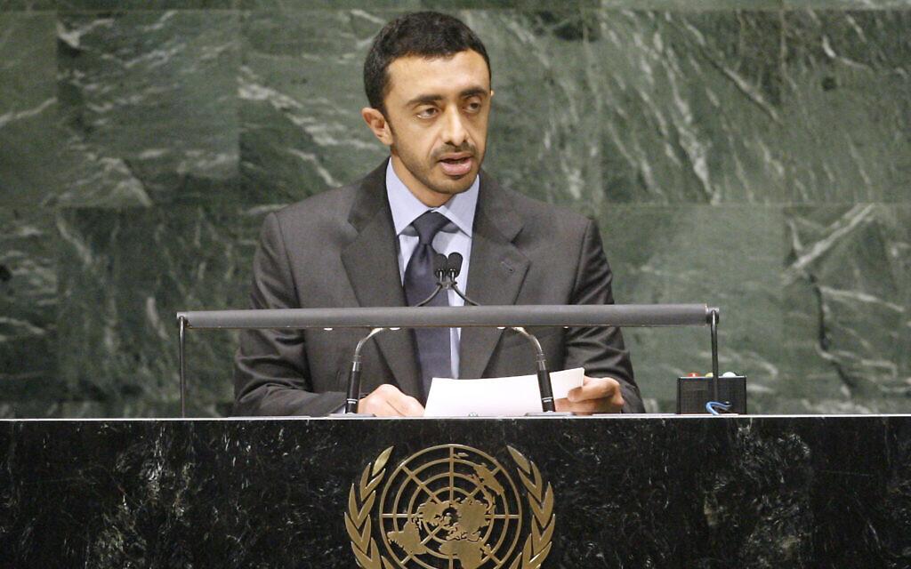وزير الخارجية الإماراتي عبد الله بن زايد آل نهيان يخاطب الجمعية العامة للأمم المتحدة، 28 سبتمبر، 2010. (Aliza Eliazarov / UN Photo)