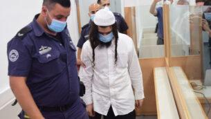 عميران بن أوليئل في قاعة المحكمة المركزية في اللد، 18 مايو، 2020. (Avshalom Sassoni/Pool Photo via AP)