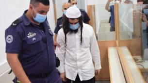 عميران بن أوليئل في المحكمة المركزية في اللد، 18 مايو، 2020. (Avshalom Sassoni/Pool Photo via AP)