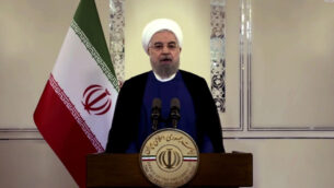 الرئيس الإيراني حسن روحاني يتحدث في رسالة مسجلة مسبقا تم بثها خلال الدورة 75 للجمعية العامة للأمم المتحدة، في مقر الأمم المتحدة في نيويورك، 22 سبتمبر 2020 (UNTV via AP)