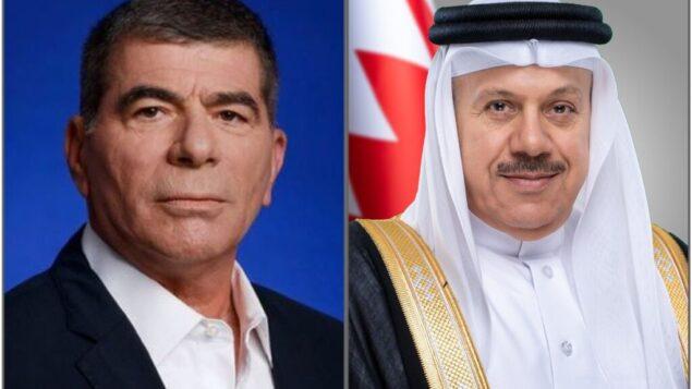 وزير الخارجية الإسرائيلي غابي أشكنازي (يسار) ونظيره البحريني عبد اللطيف بن راشد الزياني، كما تم تصويرهما في تغريدة من وزارة الخارجية البحرينية بعد أول مكالمة هاتفية علنية بينهما، 12 سبتمبر 2020 (Twitter)
