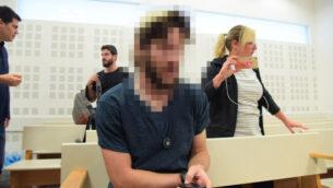 مشتبه به بالإرهاب اليهودي يصل لسماع حكمه حول تورطه في حريق في قرية دوما في الضفة الغربية، حيث قُتل ثلاثة من أفراد عائلة دوابشة، 24 أكتوبر 2019 (Avshalom Shoshani / Flash90)