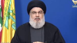 الأمين العام لحزب الله ، حسن نصر الله، يلقي كلمة على قناة 'المنار'  التابعة للمنظمة، 29 سبتمبر 2020 (Screenshot: Al-Manar)