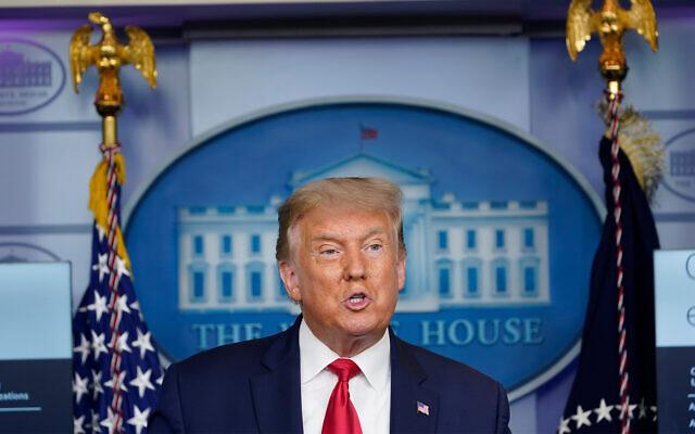 الرئيس الأمريكي دونالد ترامب يتحدث خلال مؤتمر صحفي في البيت الأبيض بواشنطن ، 10 سبتمبر، 2020. (AP Photo / Susan Walsh)