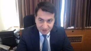 حكمت حاجييف، مساعد رئيس أذربيجان، في مقابلة، 20 سبتمبر 2020 (screenshot: Walla)