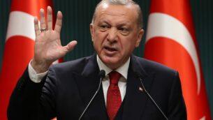 الرئيس التركي رجب طيب اردوغان خلال مؤتمر صحفي في انقرة، 21 سبتمبر 2020 (Adem ALTAN / AFP)
