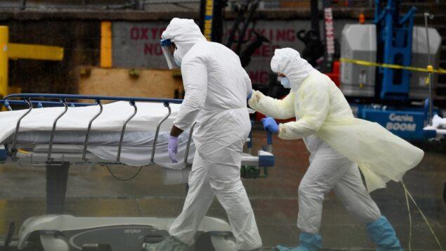 في هذه الصورة  من الأرشيف التي تم التقاطها في 9 أبريل 2020، يقوم الطاقم الطبي بنقل جثة مريض توفي إلى شاحنة مبردة تستخدم كغرفة موتى في مركز مستشفى بروكلين في مدينة نيويورك. (Photo by Angela Weiss / AFP)