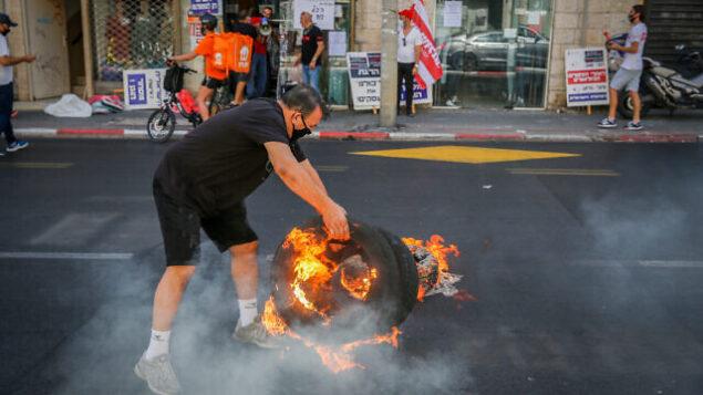 أصحاب أعمال يتظاهرون ضد الإغلاق في تل أبيب، 15 أكتوبر 2020 (Flash90)