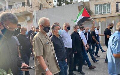 عرب إسرائيل ينظمون مسيرة في كفر قاسم لإحياء لذكرى مجزرة عام 1956 التي ارتكبها حرس الحدود، والتي راح ضحيتها 48 قتيلا، 29 أكتوبر 2020 (Yousef Jabareen)