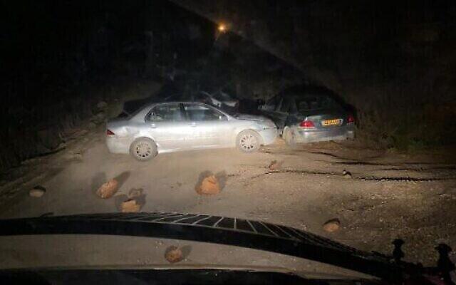 مكان هجوم دهس مفترض نفذه مستوطن متطرف في بؤرة كومي أوري الاستيطانية بالقرب من مستوطنة يتسهار في الضفة الغربية، 25 نوفمبر، 2020. (Border Police)