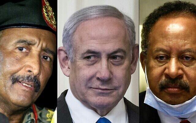 تظهر هذه المجموعة من الصور التي تم تركيبها في 24 أكتوبر 2020 (من اليسار إلى اليمين): رئيس المجلس الانتقالي السوداني اللواء عبد الفتاح البرهان في ضواحي العاصمة الخرطوم في 30 أكتوبر 2019؛ رئيس الوزراء الإسرائيلي بنيامين نتنياهو في الغرفة الشرقية للبيت الأبيض في واشنطن العاصمة، 28 يناير، 2020 ؛ ورئيس الوزراء السوداني عبد الله حمدوك في العاصمة الخرطوم، 26 يوليو، 2020. (ASHRAF SHAZLY and Sarah Silbiger / various sources / AFP)