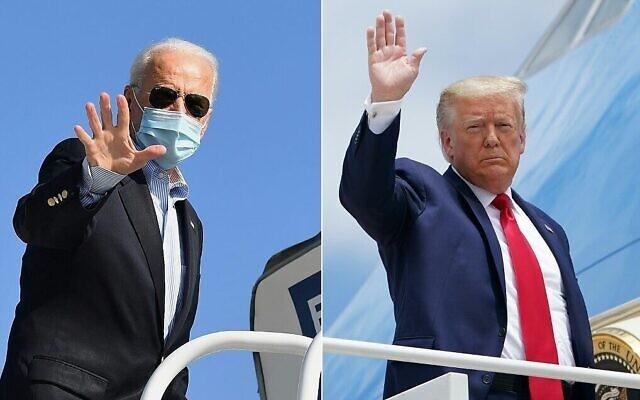 صورة مركبةتم تركيبها في 30 أكتوبر 2020، تظهر المرشح الرئاسي الديمقراطي جو بايدن (إلى اليسار) والرئيس الأمريكي دونالد ترامب يلوحان أثناء صعودهما للطائرات. (Angela Weiss and Mandel Ngan/AFP)