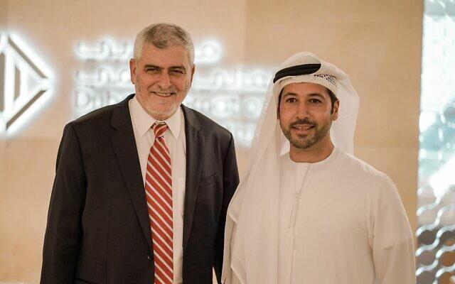 الرئيس التنفيذي لبنك هبوعليم دوف كوتلر، يسار، وعارف أميري، الرئيس التنفيذي لمركز دبي المالي العالمي، 20 سبتمبر 2020 (Courtesy)