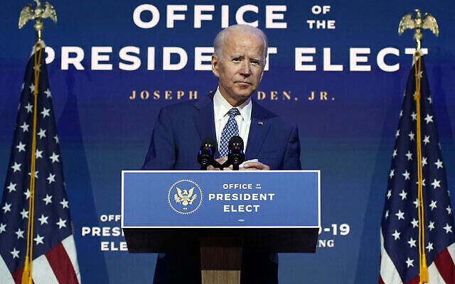 الرئيس الأمريكي المنتخب جو بايدن يتحدث في مسرح كوين في ويلمنجتون، ديلاوير، 9 نوفمبر 2020 (AP Photo/Carolyn Kaster)