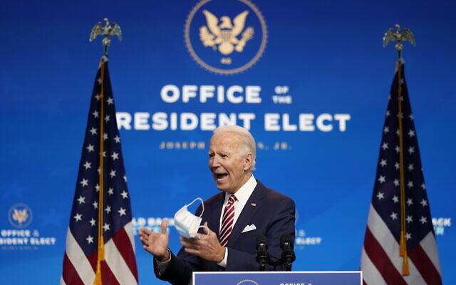 الرئيس الأمريكي المنتخب جو بايدن يتحدث عن الانتعاش الاقتصادي في مسرح ذا كوين، في ويلمنجتون، ديلاوير، 16 نوفمبر 2020 (AP Photo / Andrew Harnik)