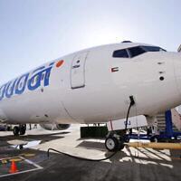 في هذه الصورة من الأرشيف التي تم التقاطها في 27 أكتوبر، 2010، تظهر طائرة من طراز بوينغ 737 خلال تسليمها لشركة فلاي دبي في سياتل. (AP Photo / Elaine Thompson ، File)