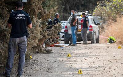 عناصر شرطة ومحققون جنائيون في ما يُشتبه بأنها موقع جريمة قتل ثلاثية في المتنزه الوطني تل دان في شمال اسرائيل، 1 نوفمبر، 2020. (Basel Awidat / Flash90)