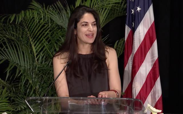 موظفة مجلس الشيوخ ريما دودين تتحدث في حفل جبران عام 2018 (Screen capture / YouTube)