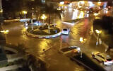 مياه الفيضانات تغمر الشوارع في مدينة نهاريا، 26 نوفمبر، 2020. (Screen capture: Twitter)