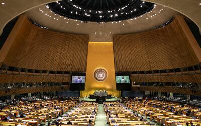 وزير خارجية هايتي بوكيت إدموند يلقي كلمة أمام الدورة 74 للجمعية العامة للأمم المتحدة في مقر الأمم المتحدة، 28 سبتمبر 2019 (AP Photo / Jeenah Moon)