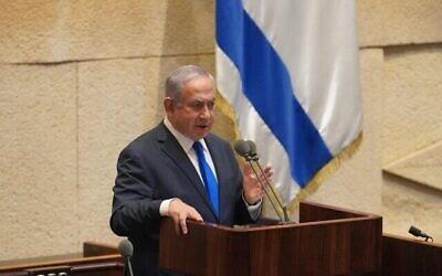 رئيس الوزراء بنيامين نتنياهو يلقي كلمة أمام الكنيست، 19 أكتوبر، 2020. (Shmulik Grossman / Knesset Spokesperson)