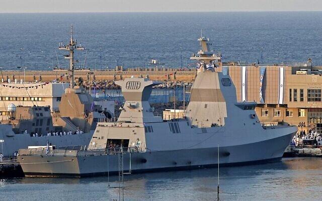 بوارج من فئة ساعر 6 ألمانية الصنع اشترتها البحرية الإسرائيلية، راسية في ميناء حيفا العسكري بعد وصولها، 2 ديسمبر 2020 (Jack Guez / AFP)
