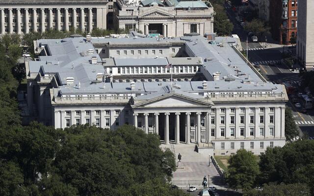 مبنى وزارة الخزانة الامريكية في واشنطن، 18 سبتمبر 2019 (Patrick Semansky / AP)