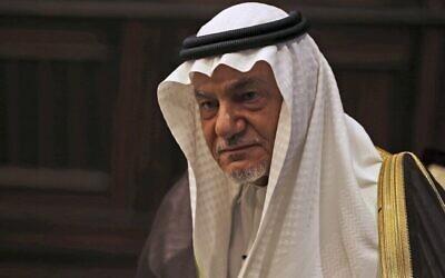 في هذه الصورة من يوم 24 نوفمبر 2018، يظهر الأمير السعودي تركي الفيصل في أبو ظبي، الإمارات العربية المتحدة. (AP Photo / Kamran Jebreili)