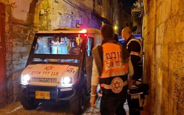 مكان اطلاق نار في البلدة القديمة في القدس، 21 ديسمبر، 2020. (Magen David Adom)