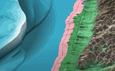 لقطة شاشة من فيديو لنموذج رقمي صممه باحثون لتعرض تسونامي ضخم يقولون إنه من المحتمل أنه قد يكون البحر الأبيض المتوسط قبالة سواحل إسرائيل منذ آلاف السنين. (YouTube)
